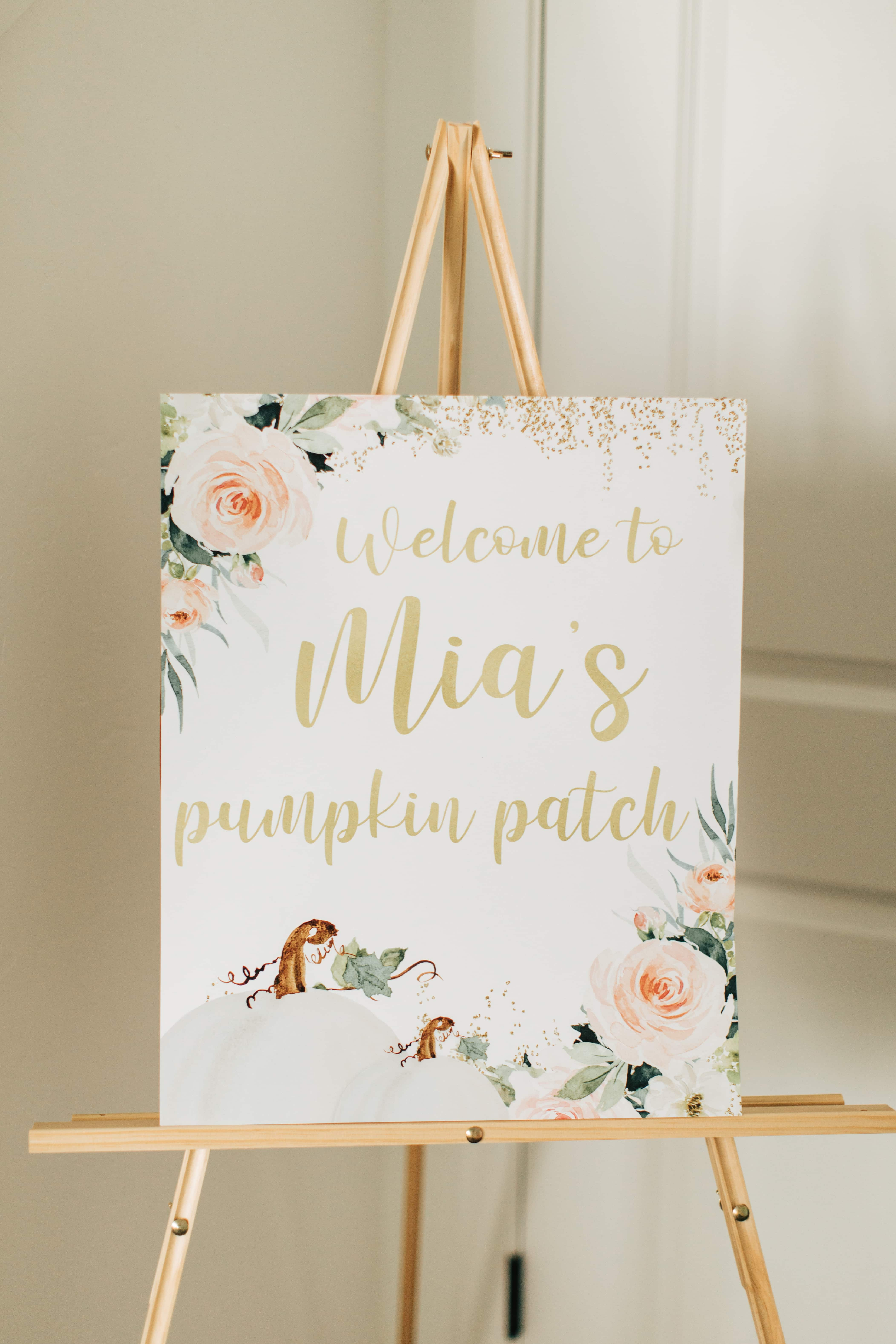 Pumpkin patch party sign on an easel.
