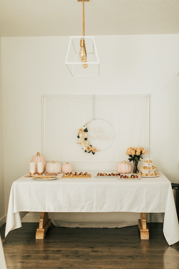Pumpkin themed party table.