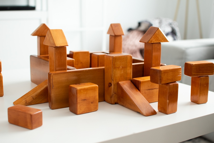 Wooden blocks placed in the shape of a castle.