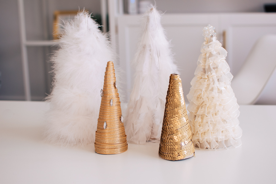 DIY cone trees on a table