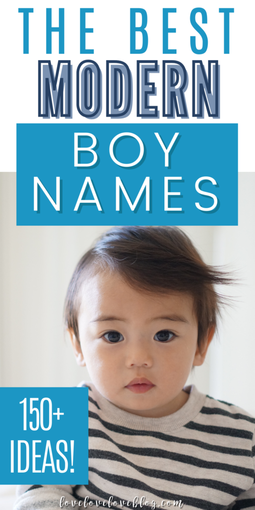 A Pinterest image with text and a little boy wearing a blue striped shirt.