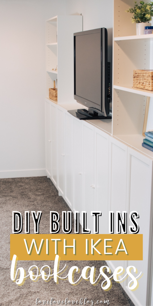 A Pinterest image with text and DIY IKEA Billy bookcase built ins.