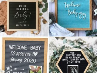 Collage of 4 baby announcement boards.