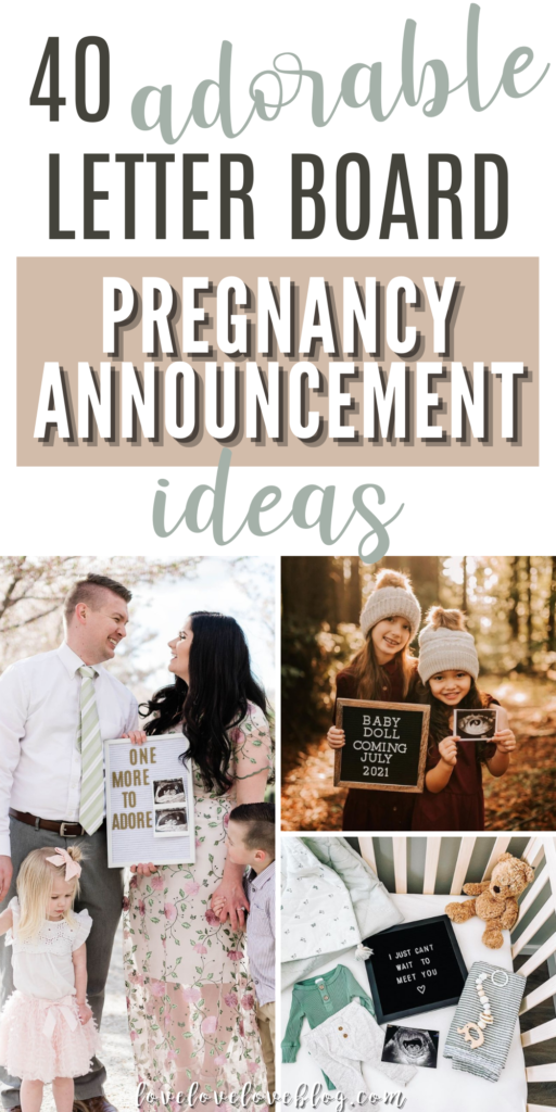 Pinterest graphic with text and collage of letter board baby announcements.