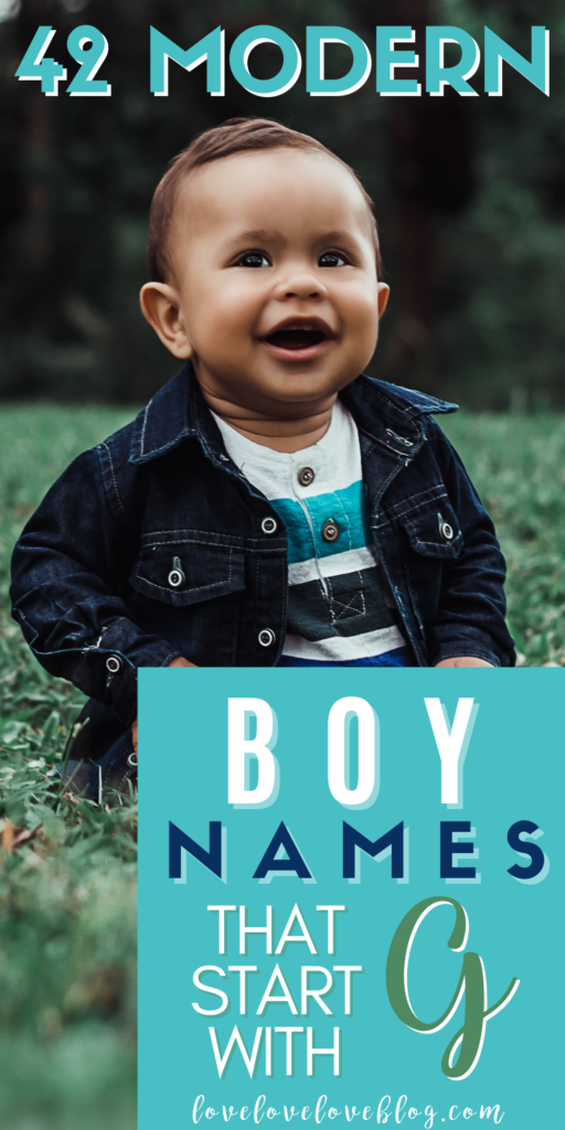 Pinterest graphic with text and baby boy in denim jacket and boots sitting on grass.