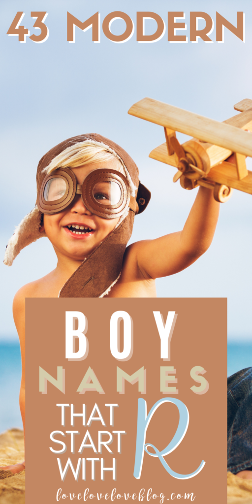 Pinterest graphic with text and boy playing with wooden airplane on beach.