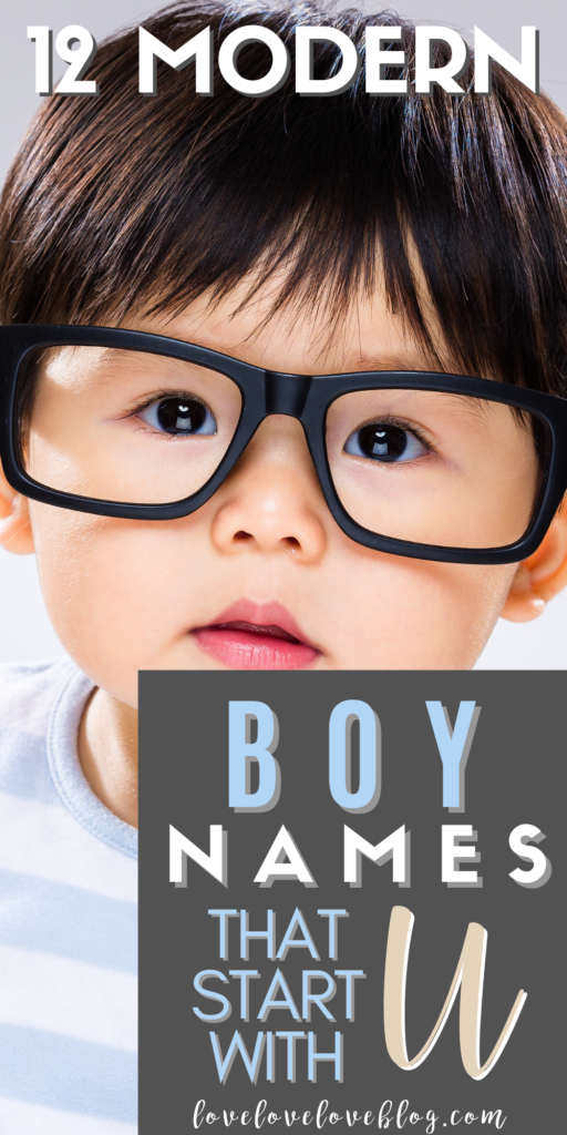 Pinterest graphic with text and baby boy in black glasses.
