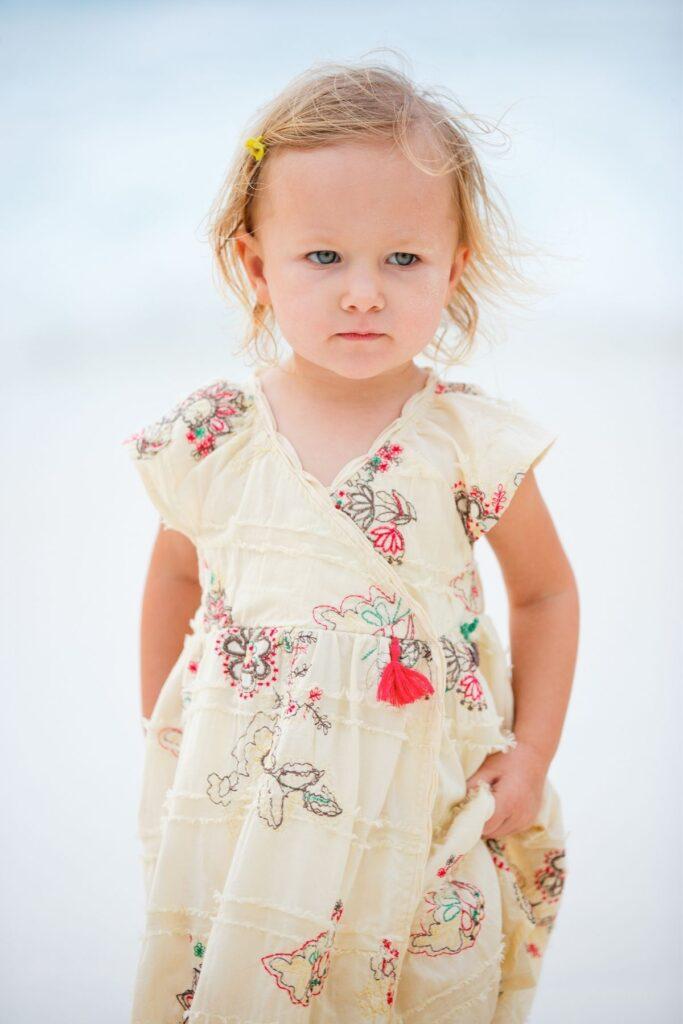 Little girl in spring dress.
