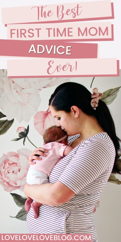 Pinterest graphic with text and mom holding newborn in nursery.