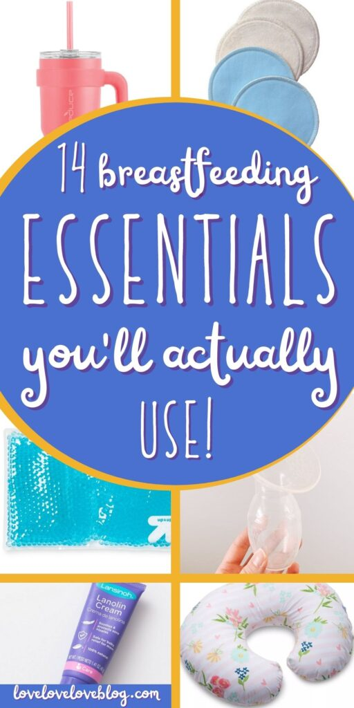 Pinterest graphic with text and collage of breastfeeding essentials.