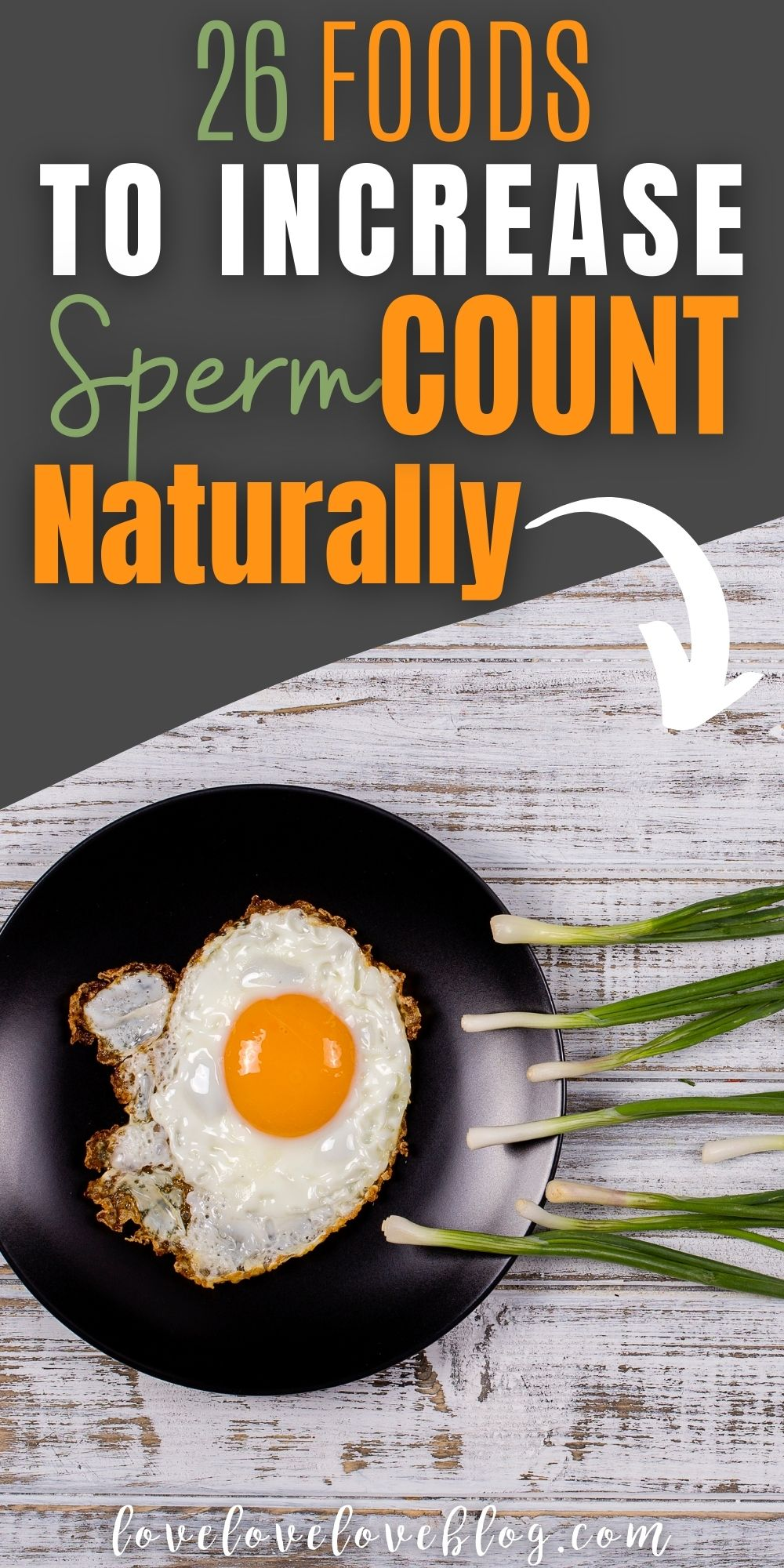 """Pinterest graphic with text for """"Foods to Increase Sperm Count"""" and image of green onions """"swimming"""" towards fried egg in skillet."""
