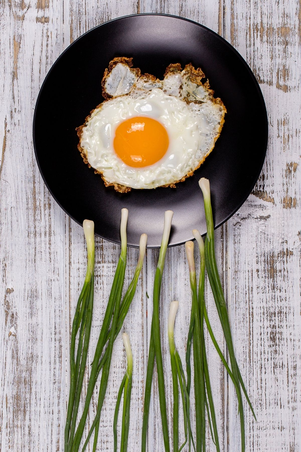 Green onions form the appearance of sperm swimming towards a skillet with fried egg inside.