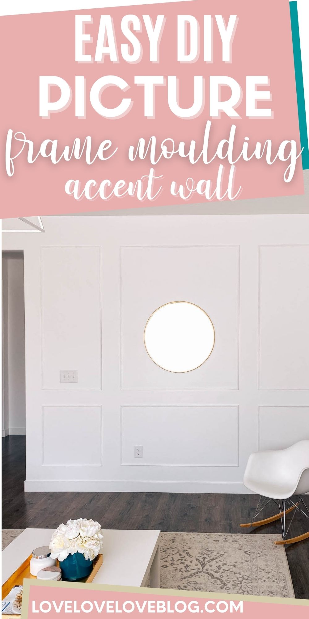 Pinterest graphic with text and picture frame moulding on white wall.