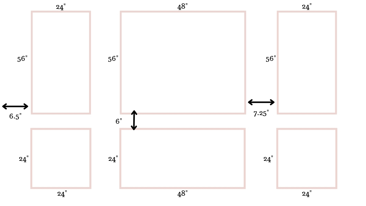 Graphic of picture frame moulding dimensions with shapes and measurements.